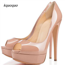 Lady Peep Open Red Toe Pumps 14CM Platform Shoes Woman Sexy Bottom High Heels Nude Patent Leather Wedding Shoes Dress Bridal(China)