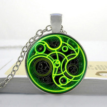 Steampunk UK drama doctor who green line time lord Necklace bronze/silver Glass Pendant jewelry dr who chain quality DRSP-001