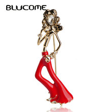 Blucome Fashion Paris Wavy Hair Girls Bell-Bottomed Pants Brooch Gold-color Pins Red Enamel Brooch Suit Shoulder Scarf Corsage(China)