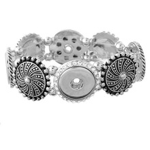 New Fashion SG0042 Crystal pattern Metal charm snap Bracelet Bangle Flexible fit 18MM snap buttons jewelry wholesale(China)