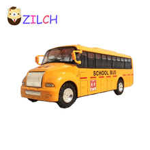 2017 Wholesale Price 13.5x4CM Can Open Door Pull Back Wheel Force Flashing School Bus Alloy Toy Car Model Gift For Kid Children