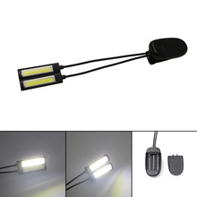 Sanyi Flexible 2 Dual Arms Clip On 2 LED Light for Book Reading Desk Tablet Lamp Adjustable 2Modes LED Flashlight COB Torch