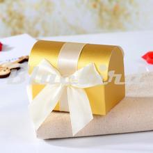 12x Gold Wedding Bomboniere Favour Box - Treasure Chest Favor Boxes,Candy Box, Gift Box(China)
