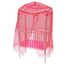 Dollhouse Miniature Furniture Pink Plastic Cot Bed with Bed Net for Barbie Doll Classic Toy Dolls Accessories Gift for Kids Girl