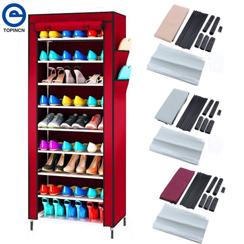 Large Capacity Shoe Rack Shoes Cabinet Canvas Fabric Standing Storage Rack W/ Zipper Prevent Dust Shoe Shelf Organizer Furniture(China (Mainland))