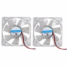2pcs Fans 4 LED Blue 4pin Crystal Frame & Blades Fans For Computer PC Case Coolin 80mm 80x25mm
