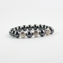 Antique silver cross beads hematite bracelet wholesale price free shipping HB1008(China)