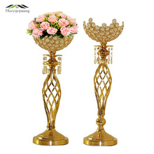 Candlestick Metal Gold/Silver Candle Holders With Crystals Vase 55/49CM Stand Pillar For Wedding Portavelas Candelabra 5802(China)