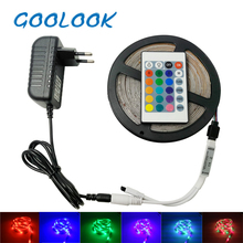GOOLOOK RGB LED Strip light 5M 3014 SMD LED Tape Waterproof +DC12v Adapter +24keys Remote Flexible LED Strip RGB full Set(China)