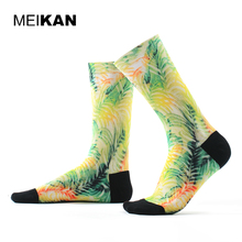 MEIKAN Men Printed Socks Colorful Harajuku Funny Sport Socks Cycling Compression Coolmax Meias Homens Durable Pattern Socks(China)