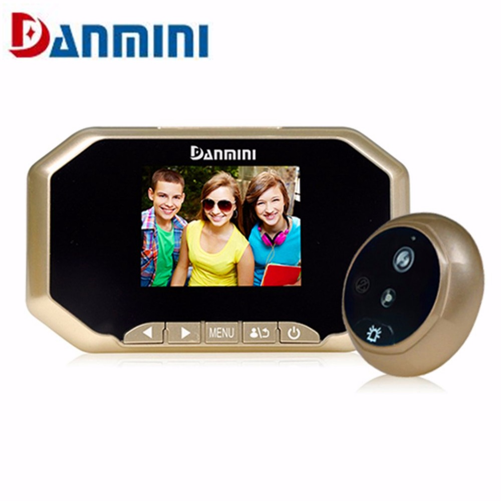 Original DANMINI 3.0 TFT LCD Color Screen Door Peephole Viewer IR LED Night vision light Doorbell 145 Degrees View Angle System<br>
