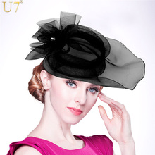 U7 Brand Vintage Fascinator Hat Fashion Style Rhinestone Hair Clips For Women Headpiece Lady Black/White Hair Accessories F304