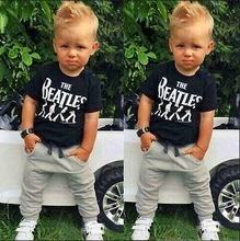 TZ-299 New Baby Boy Clothes 2 pcs Short Sleeve T-Shirts Tops + Pants Set Attire Costumes from The Beatles printing 2017 bebe set