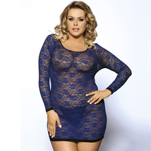 R80218P Back Strappy Sexy Costume Plus Size Sexy Lingerie Women Lace Long Sleeve Sex Big Size Fat Lingerie See Through Babydoll(China)