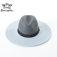 2017 Autumn and winter New Fashion Wool Fight color Jazz Flat Top Hat For Women's Men's Felt Wide Brim Fedoras(China)
