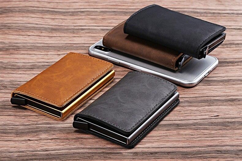 Cizicoco 2019 New Arrival Business Credit Card Holder Metal RFID Aluminium  Card Box Pu Leather Wallet Vintage Unisex Purse - AliExpress