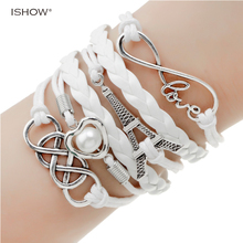 new fashion jewelry infinite double leather multilayer Charm bracelet factory price for woman jewelry wholesale(China)