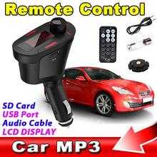 Universal Digital Car Kit FM Transmitter MP3 Player Wireless Modulator USB SD MMC LCD With RF Remote 3.5MM Aduio Cable
