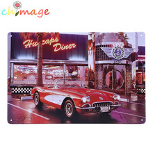 Diner red car Vintage Tin Sign Bar pub home Wall Decor Retro Metal Art Poster