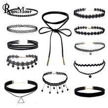 RAVIMOUR 10pcs/Set Black Velvet Choker Necklaces for Women Fashion Jewelry Lace Leather Necklace Set Stretch Tattoo Maxi Collier