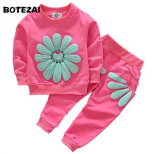 2017 girls clothing sets cartoon sunflower 2016 spring autumn children's wear cotton casual tracksuits kids clothes sports suit