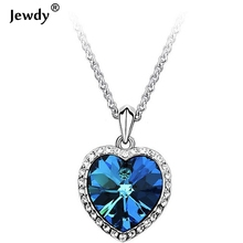 Sunshine Titanic Heart Ocean 3.5*2.3cm pendant Necklace Green Jewelry Blue Crystal Heart Necklaces Pendants For Women Jewelry(China)