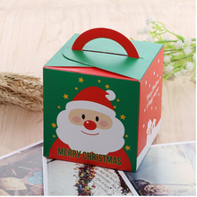 20pcs Red Green Cube Package Cartoon Santa Claus Christmas Candy Box Kids Xmas Paper Gift Box Party Decoration
