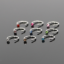 5pcs Mixed Color 6mm Nose Piercing Jewelry Surgical Steel Hoop Nose Rings and Studs Indian Nose Ring With Crystal
