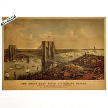Wall Sticker Vintage New York The Great East River Suspension Bridge Painting Poster Home Decor Retro Kraft Paper 60x42cm