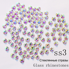 SS3 1440pcs/pack Crystal AB Non Hotfix Nail Art Rhinestones With Round Flatback For Nail Art Dancing Dress And Phone Case(China)