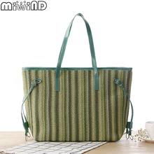 2017 New Brand Grass Handbag With Wood Handle Women Shopping Bags Big Capacity String Casual Totes Ladies Solid Bag