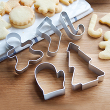 5pcs/set Christmas Cookie Cutter Biscuit Mould Aluminum Sugarcraft Cutter Cake Baking Tool(China)