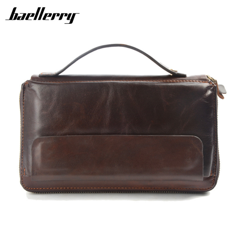 Business Long Men Wallets with Phone Bag Oil Wax Cow Genuine Leather Wallet Male Clutch Big Capacity Purse Vintage Zipper Wallet<br>