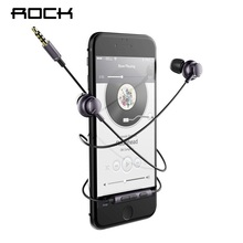 ROCK Mubow Stereo Earphone With Mic In-Ear Headset For Xiaomi iPhone Sony 3.5mm Aux Noise Cancelling Metal Microphone For Phone