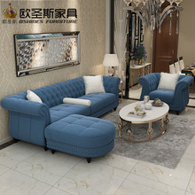 dubai leather sofa furniture 4 seaters dark blue sleeper 2017 European new classical buttons suede velvet fabric sofa set W35F(China)