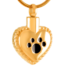 IJD8647 Dog/Cat Paw Pring On My Heart Stainless Steel Cremation Urn Pendant Jewelry Pet memorial necklaces that hold ashes