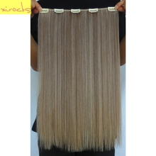 2 Piece Xi.rocks 5 Clip in Hair Extension 50cm Synthetic Hair Clips Extensions 50g Straight Hairpiece Dark Blonde Color 27/613
