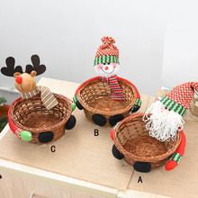 Christmas Decoration Candy Gift Biscuits Storage Basket Santa Snowman Elk Home Decor Party Kids Gift Festival Supplie F1020(China)