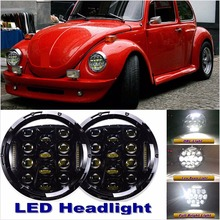 Pair 7'' LED Headlights Auto Lamp Round Upgrade DRL Hi/Low Beam For 1950-1979 VW Beetle Classic(China)