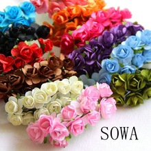 1-2cm Head Multicolor Mulberry Paper Flower Bouquet/ Scrapbooking Artificial Rose Flowers DIY Wedding Decoration(144pcs/lot)
