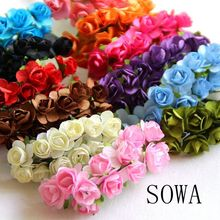 1-2cm Head Multicolor Mulberry Paper Flower Bouquet/ Scrapbooking Artificial Rose Flowers DIY Wedding Decoration(144pcs/lot)(China)