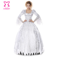 White Deluxe Gothic Sexy Costumes Women Cosplay Halloween Party Zombie Ghost Bride Costume Vampire Dress Adult Role Play Outfits