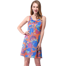 Ladies Summer Retro Tunic Fashion Print Clubbing O-neck Evening Day Casual Floral Vintage Sleeveless Party Dress