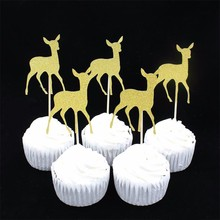 Gold/Siliver Christmas Deer party cupcake toppers picks decoration for Kids Birthday party Cake favors Decoration supplies