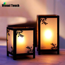 Visual Touch Zakka European Metal Iron Glass Lantern Candle Holder Tea Light Holder Stand Wedding Party Decor Romantic Dinner