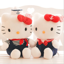 2pcs navy clothes Hello Kitty doll & 9'' 22cm boy and girl HT plush toy Valentine's Day gifts good gift for kids and baby