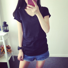 2017 New High Quality 18 Color Simple T Shirt Women Solid color Tees Plain Cotton short sleeve T-shirt Female Tops Black 0002