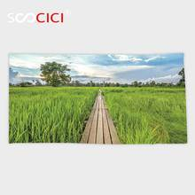 Custom Microfiber Ultra Soft Bath/hand Towel,House Decor 100 Year Old Wooden Bridge Between Rice Field With Sunlight At Khonburi