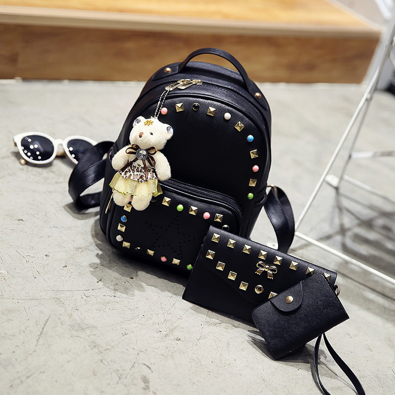 New 2017 colors rivet small backpack A three-piece Womens fashion bag with doll Cartoon cute leisure bag vintage bag for girl<br><br>Aliexpress