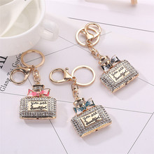 Best Price Rhinestone Alloy Perfume Bottles Sparkling Charm Keychain Bag Handbag Key Ring Car Key Pendant